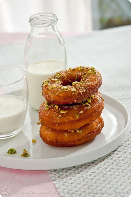 Saffron Cardamom Doughnuts with Pistachio
