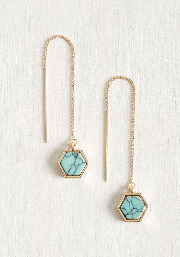Get Up and Geo Earrings. In your morning hustle, you always find the time to adorn your ensemble with this perfect pair of threaded earrings. #blue #modcloth