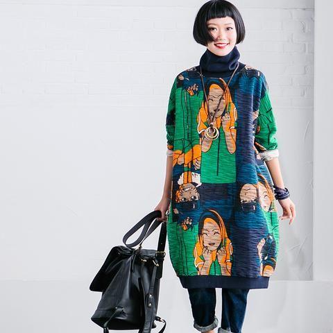 Cartoon Printing High Collar Fleece Korean Loose Long Top Women Clothes R2387A
