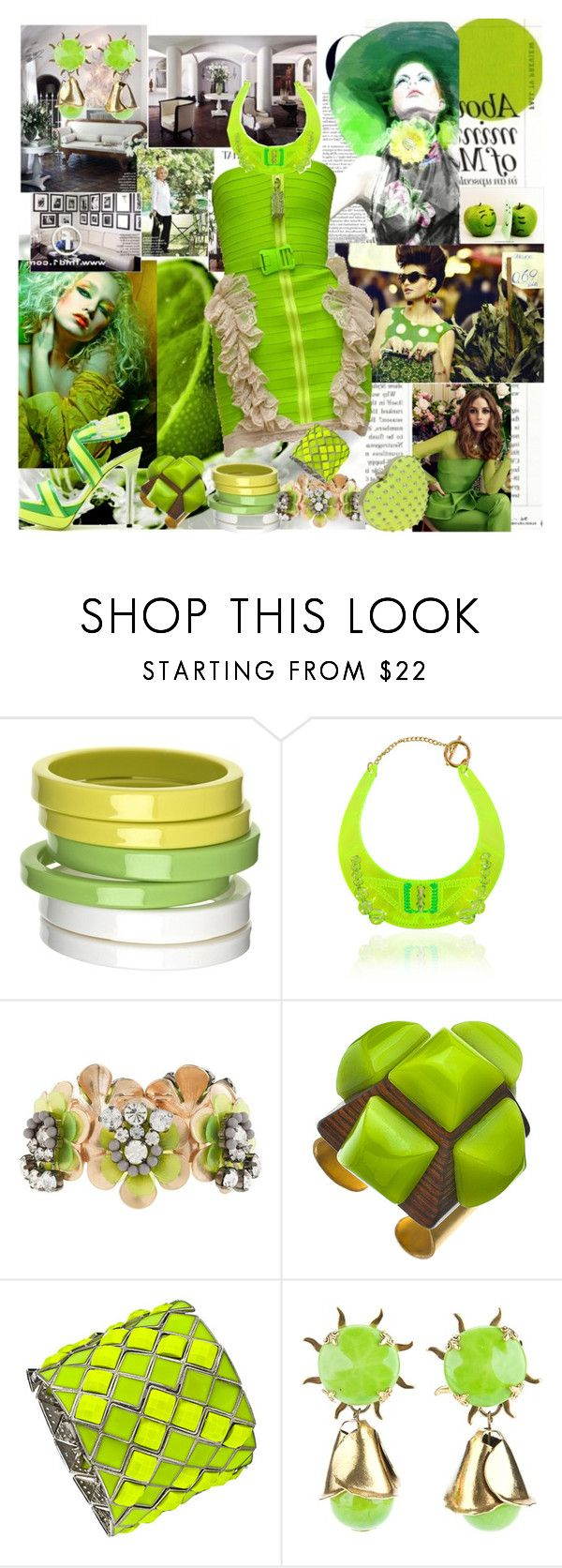 """LIME VS GREEN"" by caramelpz ❤ liked on Polyvore featuring Davis by Ruthie Davis, By Malene Birger, Christopher Kane, J.Crew, Sandy Hyun, Blu Bijoux and A