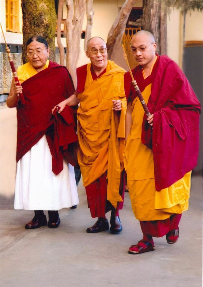From left--HH Sakya Trizin; in the center--HH the 14th Dalai Lama; on the right--HH the 17th Karmapa.  These are the supreme heads of 3 Tibetan Buddhist lineages:  Sakyapa, Gelugpa, Kagyupa respectively,  Om Mani Padme Hum.