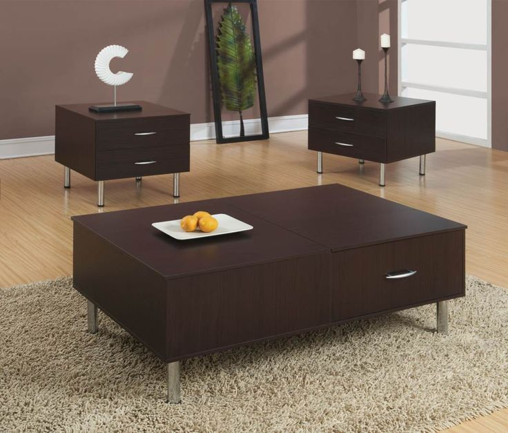 Transitional Brown Wood Coffee Table Set