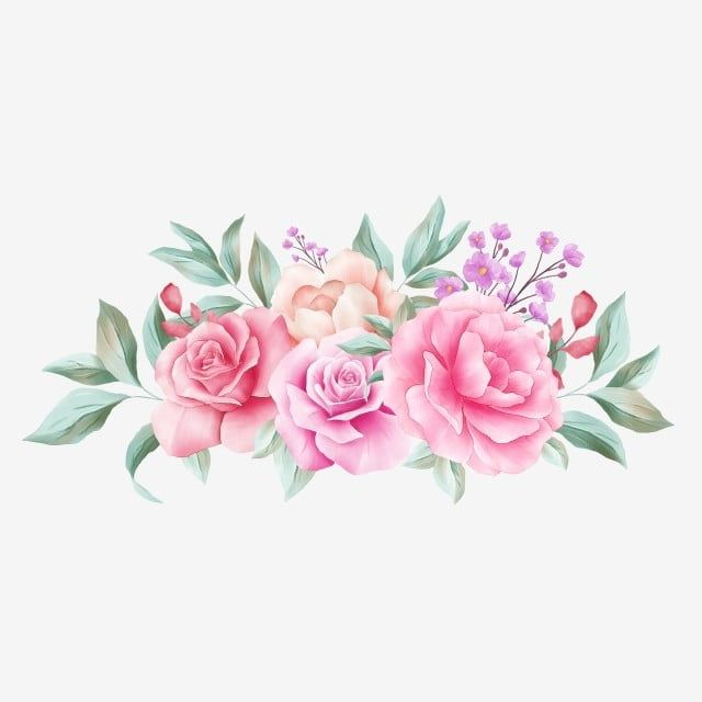 Horizontal Floral Arrangement For Wedding Invitation Card Composition Flower Watercolor White Png Transparent Clipart Image And Psd File For Free Download Floral Poster Pink Watercolor Flower Floral