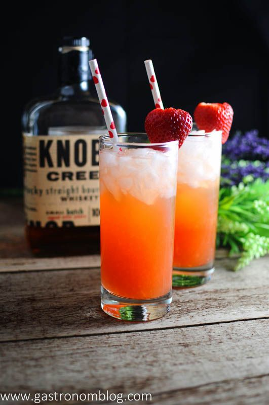 The Bourbon Sweetheart Recipe - Knob Creek Bourbon, strawberries, ginger liqueur, and club soda. cocktail, drink