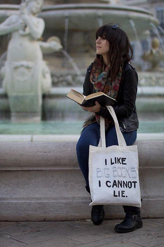 "Sac cabas ""I Like Big Books"" blanc"
