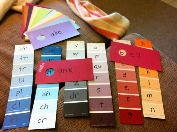 Paint chips to work with words in the classroom~ Use for word families, digraphs, & blends