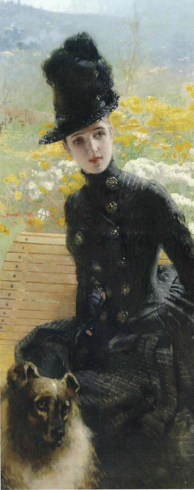 GIUSEPPE DE NITTIS - 1846.- 1884  Signora col cane
