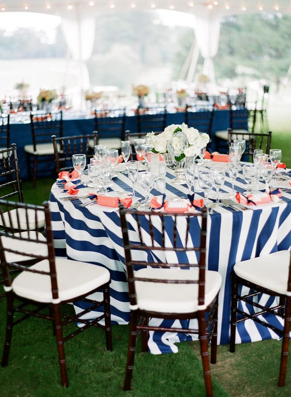 Navy Striped Linens With Coral Accents! Perfect For A Nautical Inspired  Party