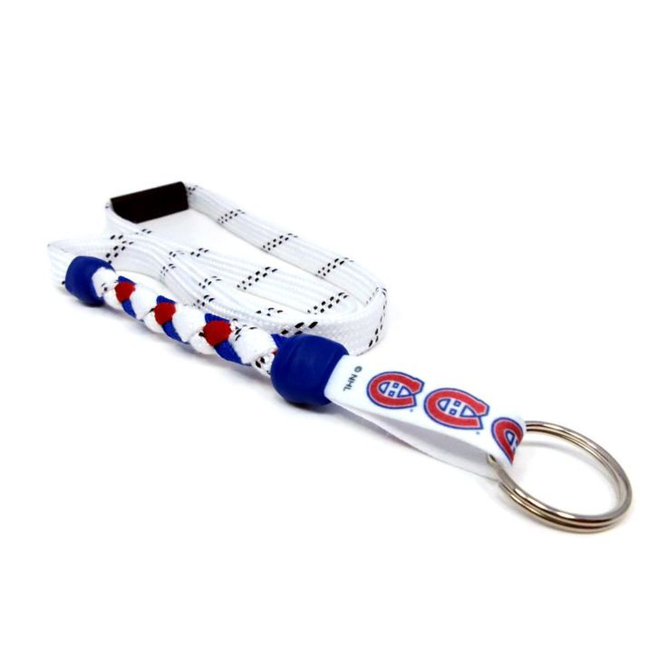 Montreal Canadiens braided hockey lace lanyard. Braided with actual hockey skate lace and team colors. Made with a high detail logo team logo tag.