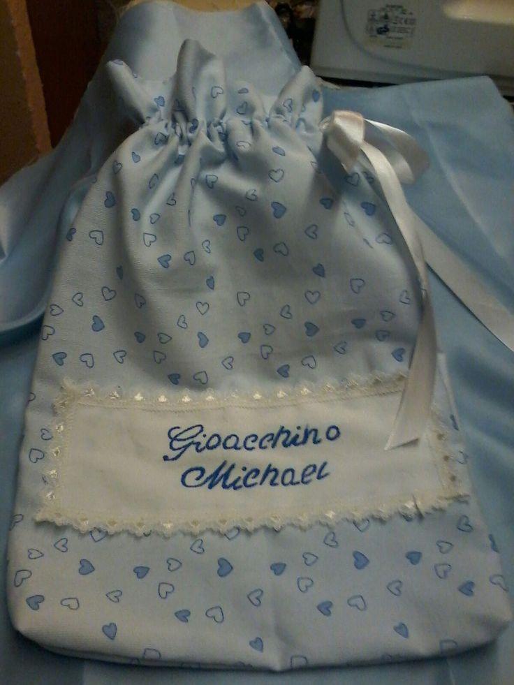 Busta x neonati da mettere anche nel borsone, con il nome del bambino / a.