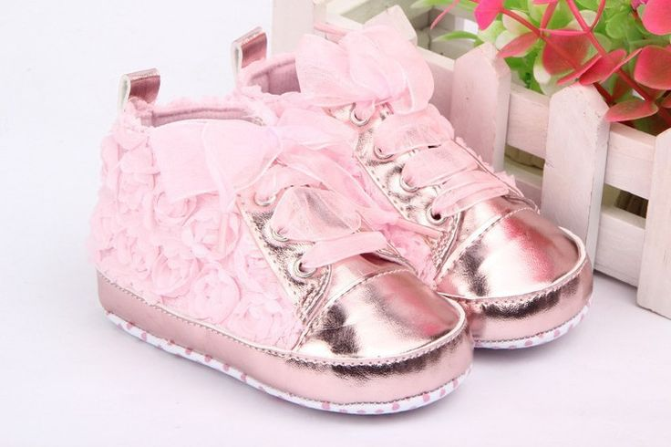 Baby Shoes Girls Toddler Soft Sole Pink Rose Flowers Children Shoes Infant Lace Shoes