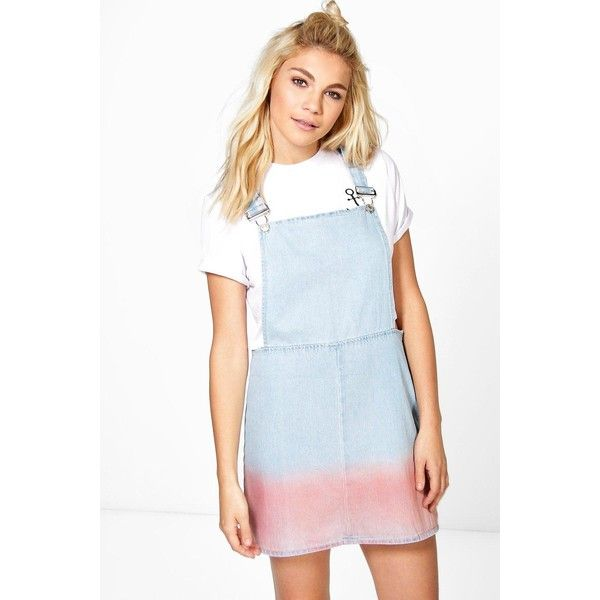 Boohoo Blue Bree Ombre Denim Pinafore Dress (580.970 VND) ❤ liked on Polyvore featuring dresses, blue, blue dress, denim pinafore dress, blue cocktail dresses, denim bodycon dress and holiday dresses