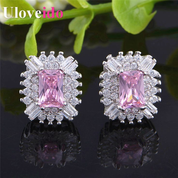 Find More Stud Earrings Information about Christmas Presents Fashion Luxury Jewelry Zircon Silver Stud Earrings with Pink Crystal Large Stones Women New Year Gifts R831,High Quality earring set,China earrings for men studs Suppliers, Cheap earrings logo from Uloveido Official Store on Aliexpress.com