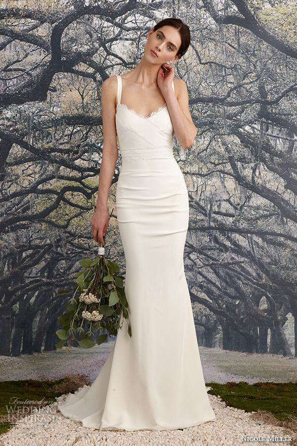 nicole miller spring 2016 bridal strap scallop neckline stretch crepe de chine v neck sheath wedding dress tonya