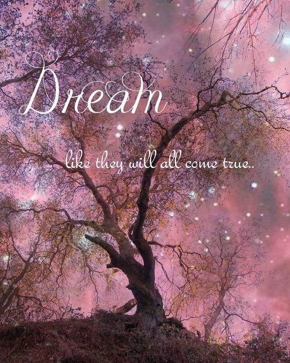 DREAM Quote Raspberry ENCHANTED FOREST Stars Full Moon at Twlight Art Print