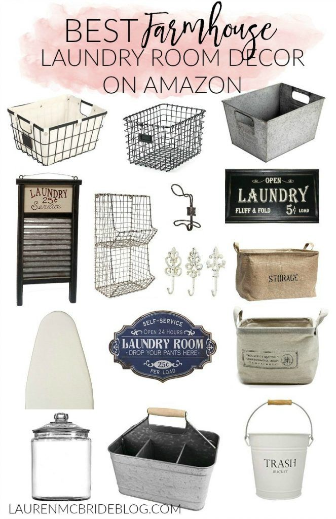 Check out the BEST farmhouse laundry room decor on Amazon!