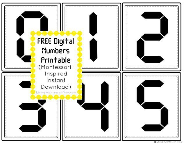 FREE Montessori-inspired digital clock numbers for matching or telling time activities. Instant download for home or classroom use.