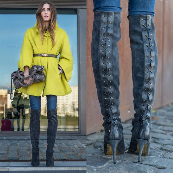 Coat, Peter Kaiser Overknee Boots, Buffalo Bag, Jeans