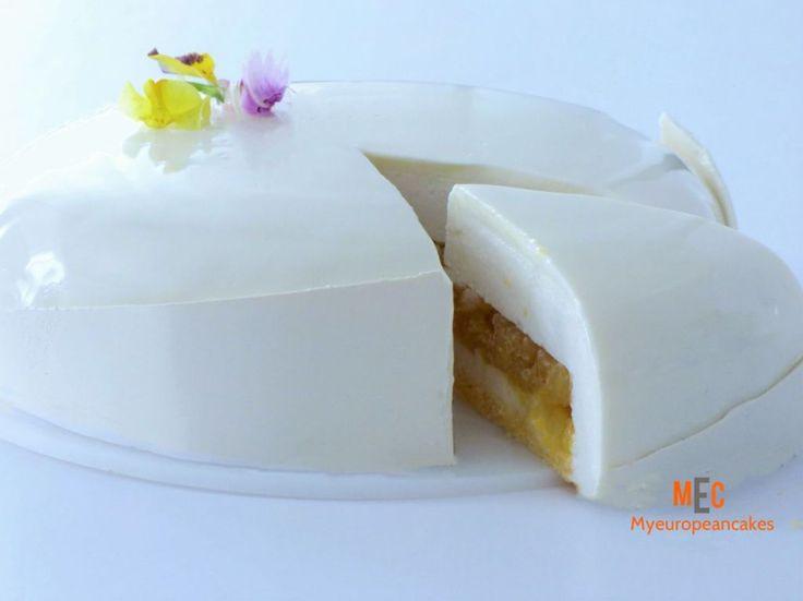 Tarta de mousse de coco y piña caramelizada - MY EUROPEAN CAKES