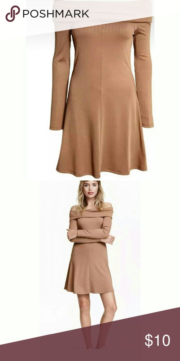 🎉🎉🎉SALE 🎉🎉🎉H&M Bardot dress Beige H&M Bardot dress. Comes about mid thigh. Really comfy and great with thigh high boots or sneakers. Never worn.🎉🎉🎉BUNDLES&OFFERS WELCOME🎉🎉🎉 H&M Dresses Mini