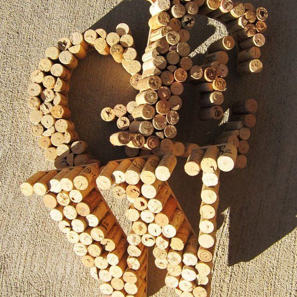 Monogram letters DIY by wine bottle plugs
