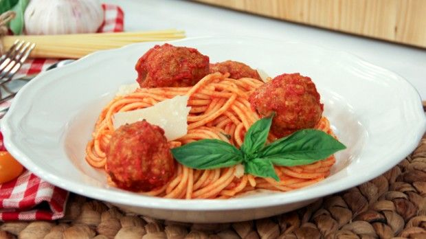 Mom's Spaghetti and Meatballs | Steven and Chris | Stefano Faita reveals his mom's secret recipe and the trick for tender, juicy meatballs every time.