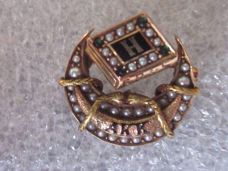 Antique 14k Solid Gold Alpha Kappa Kappa Fraternity Sorority Pin