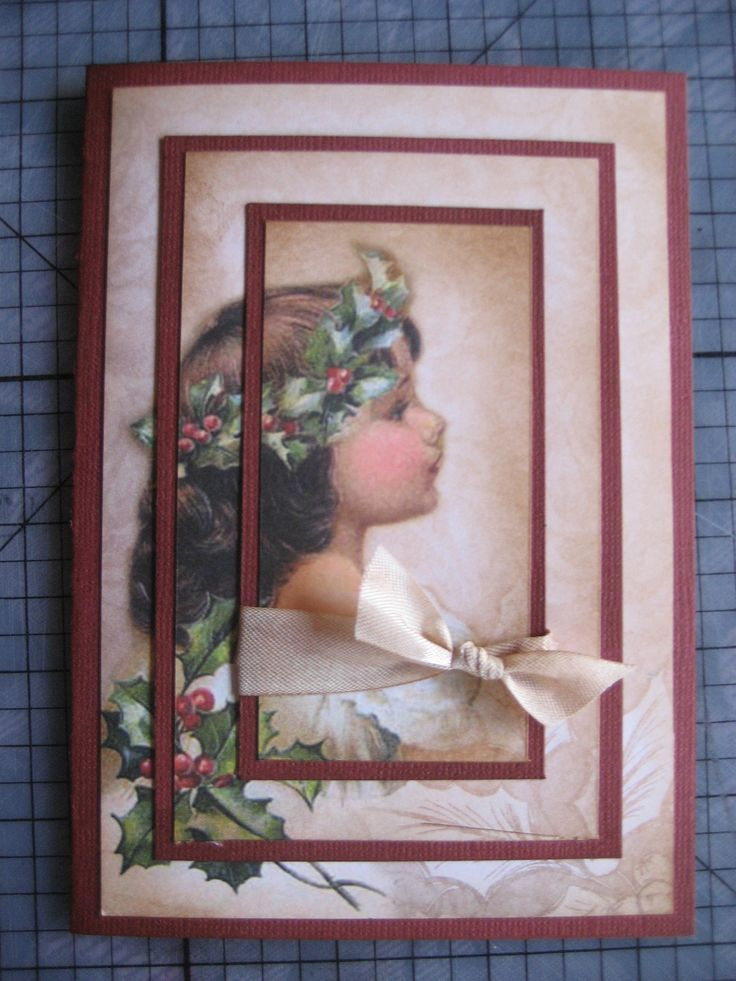 """Triple layering with Kaszazz paper """"Vintage Christmas - Holly"""""""