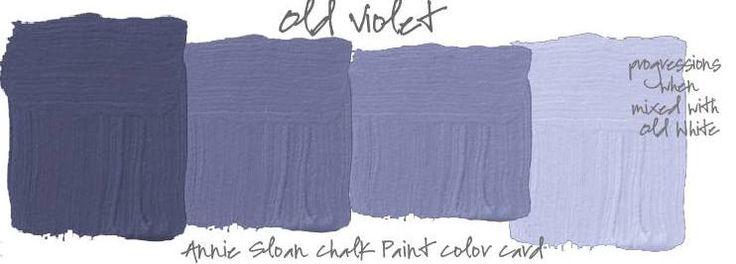 Annie Sloan krijtverf Old Violet mengen met wit geeft hele mooie blauw paarse tinten