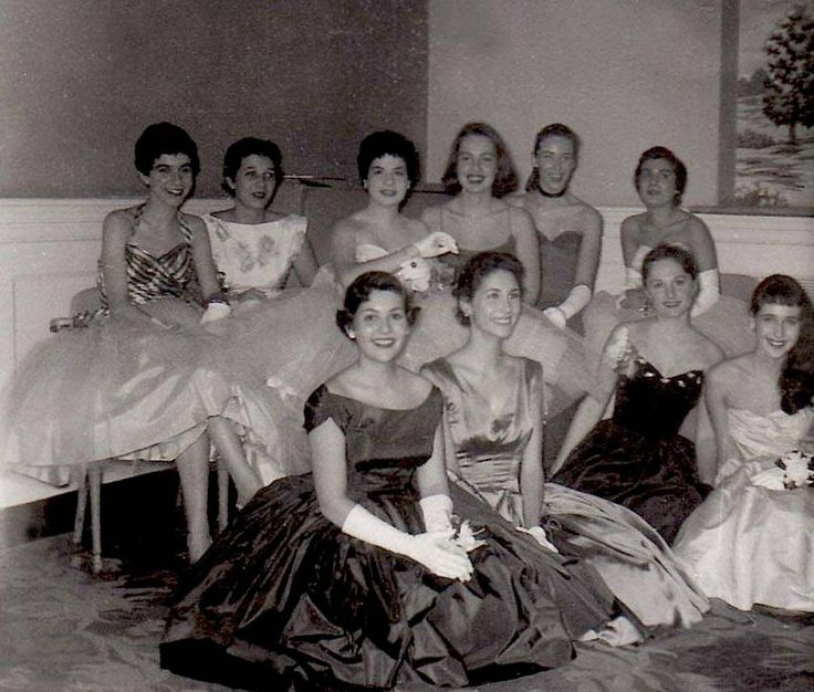 From: Ruth G. Sikes  @ruthsikes  www.ruthgsikes.com  Looking stylish in 1956.  #1950s #formal wear #white gloves #prom night #Chatham College # Pittsburgh college #womens college #gowns #Womeninphotography #style