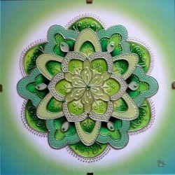 "Mandala ""V Kapce Rosy"" * Glass Hand Paiting Mandala ""In A Drop Of Dew"" * Original"