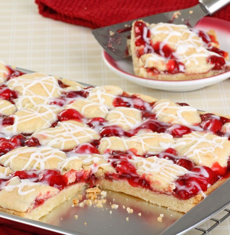 These cherry pie bars are tasty and pretty! A homemade dessert that is easy to make and slices up and serves perfectly! Use your favorite pie fillings!