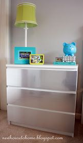 IKEA Malm Dresser, lowes silver contact paper.