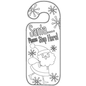Free printable Christmas door hangers which the kids can colour in!