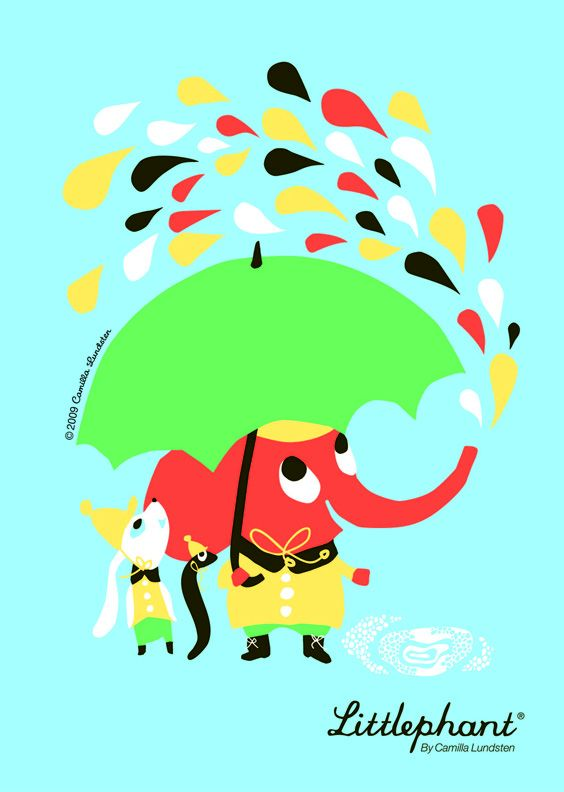 Littlephant: Rain Graphics, Picture-Black Posters, Kids Stuff, Graphics Prints, Littleph Rain, Art Prints, Posters Rain, Baby, Kids Rooms