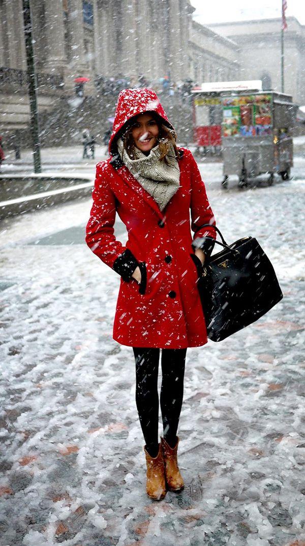 Winter- I love a red coat!