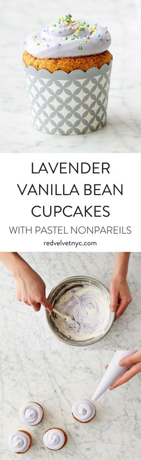Infused with lavender and topped with pastel nonpareils, these vanilla bean cupcakes with violet buttercream frosting are perfect for spring. These cupcakes are the best addition at an Easter dinner, baby shower or Mother's Day brunch. Includes 18 oven-safe silver and white cupcake cups.
