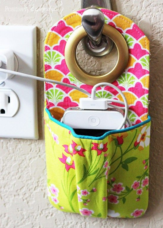 Positively Splendid shows how to make a charging cell phone holder in this simple tutorial. -Sewtorial