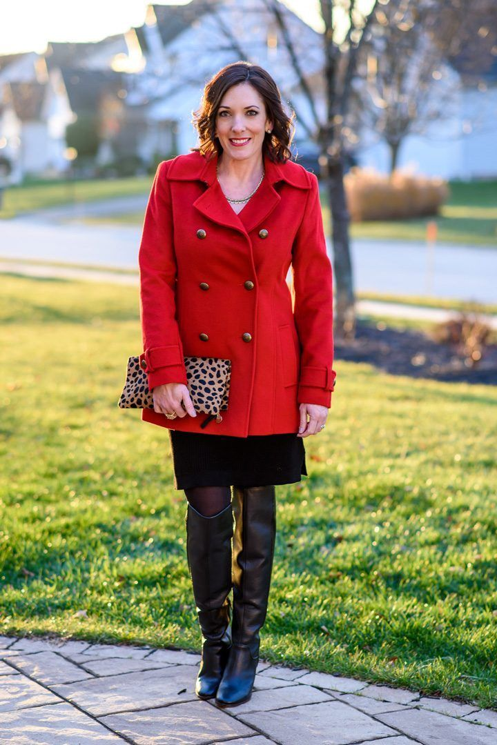 Awesome Sweater Dress Holiday Style: Red Pea Coat over Black Sweater Dress with Black OTK Boots & ... Check more at http://24myshop.tk/my-desires/sweater-dress-holiday-style-red-pea-coat-over-black-sweater-dress-with-black-otk-boots/