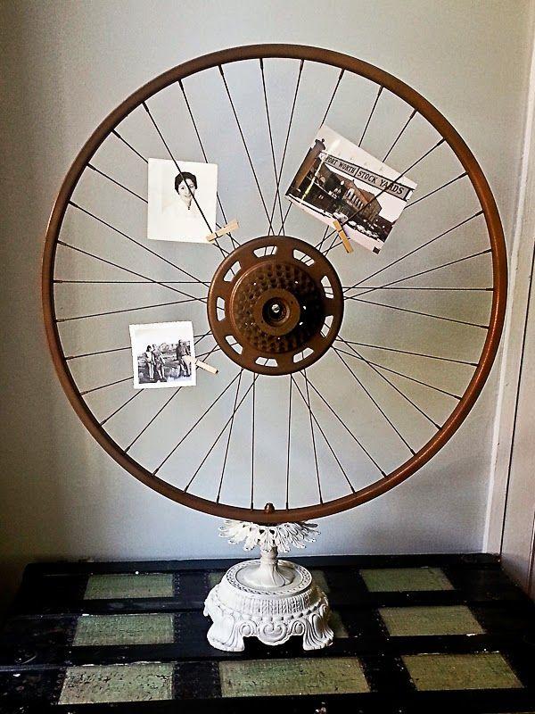 vintage bicycle rim and old lamp base