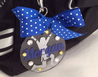 Cheer Monogram Bag Tag on Black Acrylic Personalized by GemLights