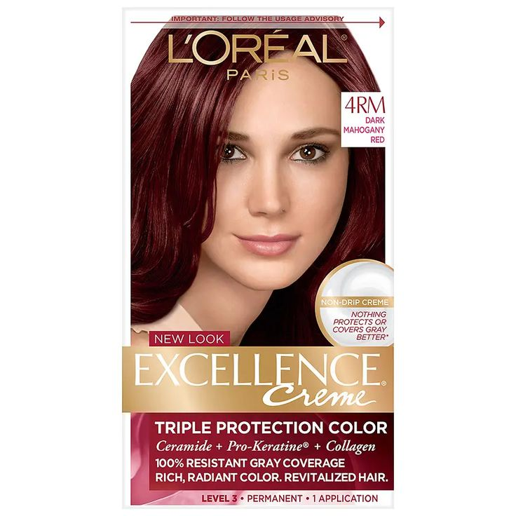 L Oreal Paris Excellence Creme Permanent Hair Color Dark Mahogany Red 4rm Loreal Hair Color Loreal Hair Permanent Hair Color