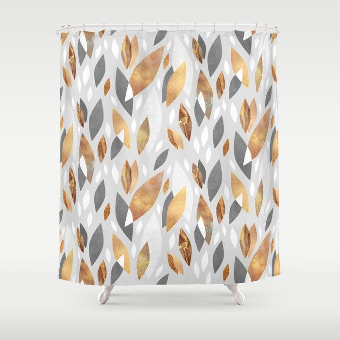 Falling Gold Leaves Shower Curtain Repin Or Leave A Comment If You Like It Bathroomdecor Bathroom H Curtains Shower Curtain Designer Shower Curtains