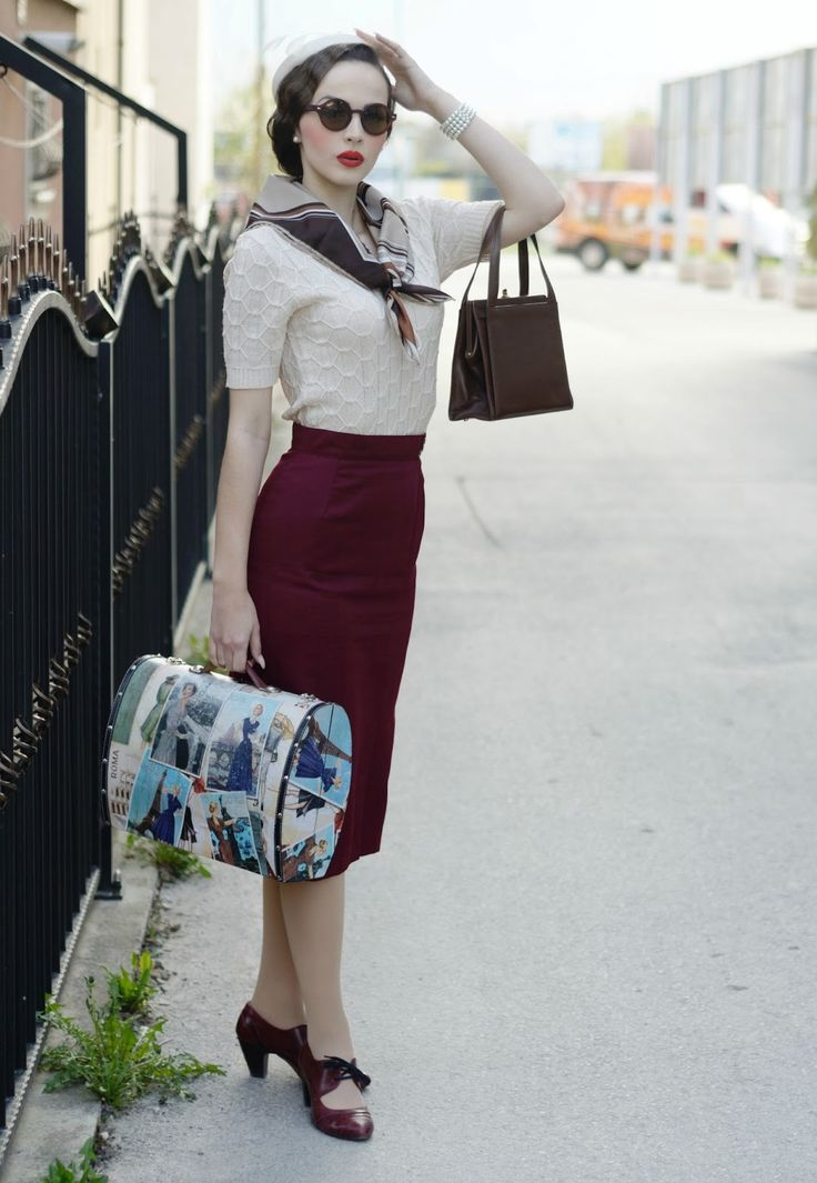Red Skirt white Blouse and blue navy top scarf  The sailor women outfit of 50's. Women wore classy outfits in the 50's