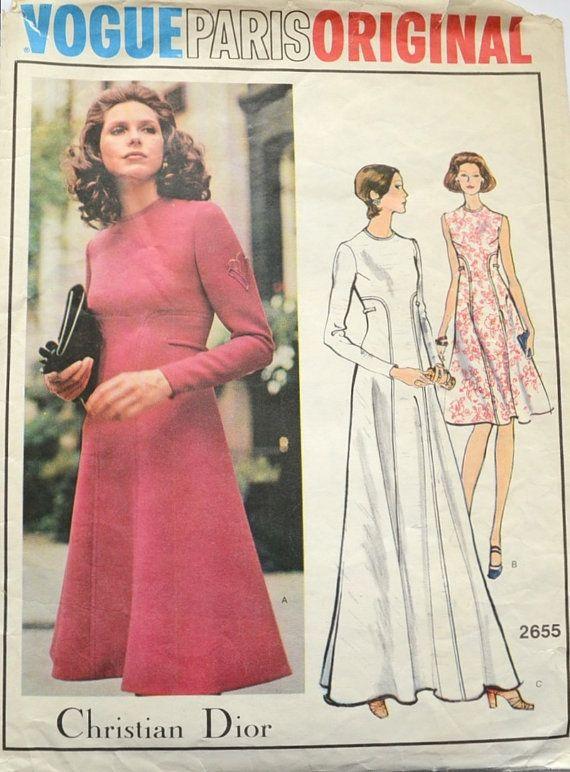 Vogue vintage patterns Paris Original design 2655 - bust 38 inches - Christian Dior long or short dress - Sewing pattern