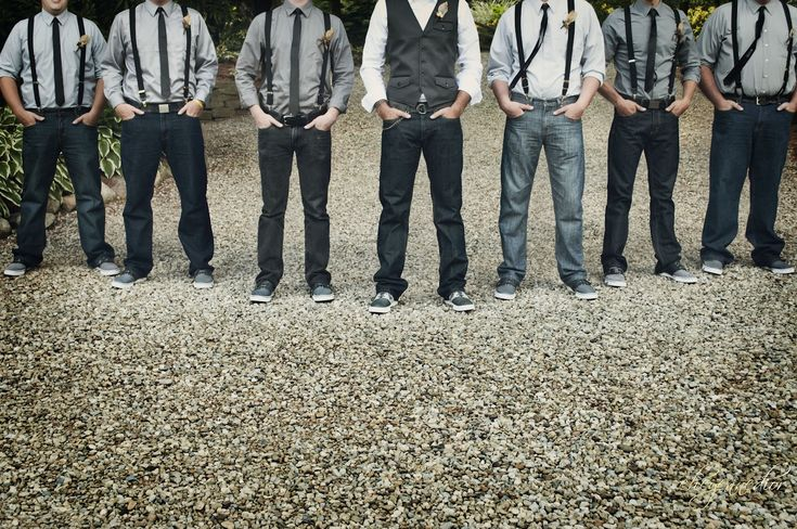 groomsmen in medium gray shirts with black pants, suspenders, skinny ties. pop of color on boutonniere or in tie to match bridesmaid?