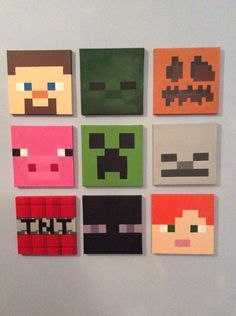 Each Minecraft canvas is hand painted on 20cm X 20cm canvas. Characters from top left include - Steve - zombie - pumpkin - pig - creeper - skeleton