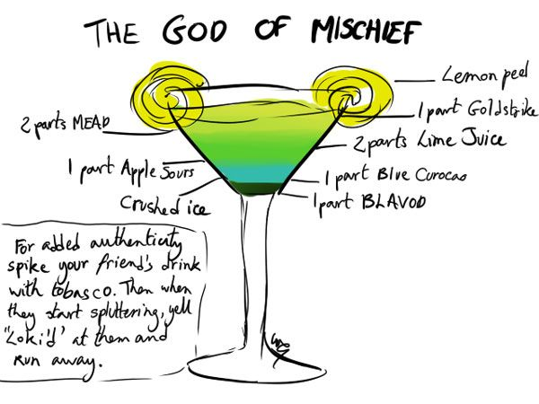 The God of Mischief: Cocktail Recipes, God, Avengersthem Cocktails, Avengers Cocktails, Avengers Drinks, Mischief Cocktails, Loki Cocktails, Cocktails Recipes, The Avengers