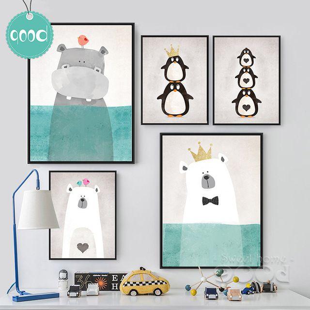 Animaux de bande dessinée Toile Art Print Affiche de Peinture, Image de mur pour La Décoration, mur Décor FA400