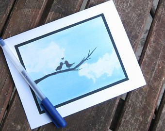 Lovebirds- watercolour card print by erinkartwork
